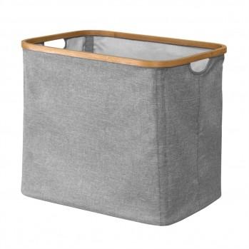 Panier à linge pliable cadre bambou coloris gris