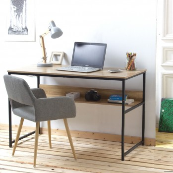 Bureau avec étagère métal style industriel