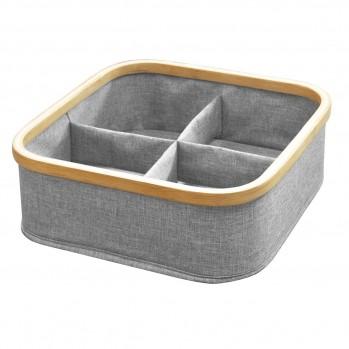 Panier pliable cadre bambou 4 compartiments coloris gris