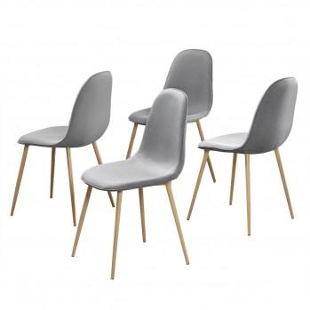 Lot de 4 chaises en tissu avec pieds métal