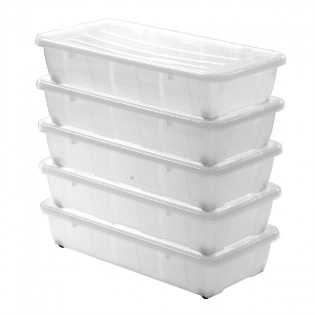 Boites De Rangement Sous Lit En Plastique Transparent 30 L Lot De 5
