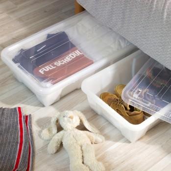 Boites de rangement sous lit en plastique transparent 30 L - Lot de 5