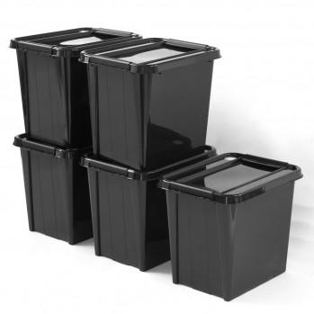 Boite de rangement en plastique recyclé 53 L - Lot de 5