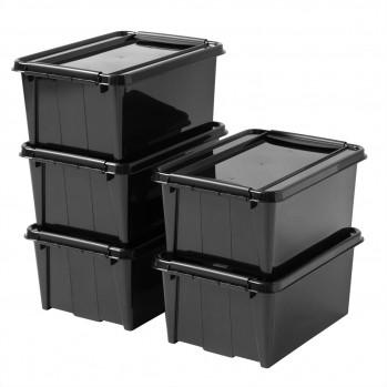 Lot de 5 boites rangement 14L - plastique recyclé