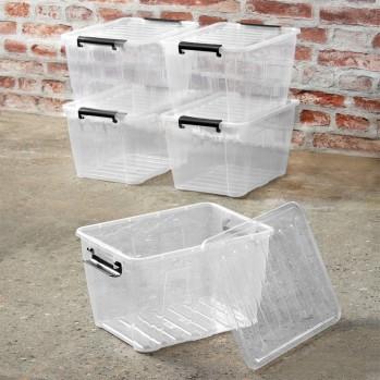 Boite de rangement en plastique transparent 15 L - Lot de 5