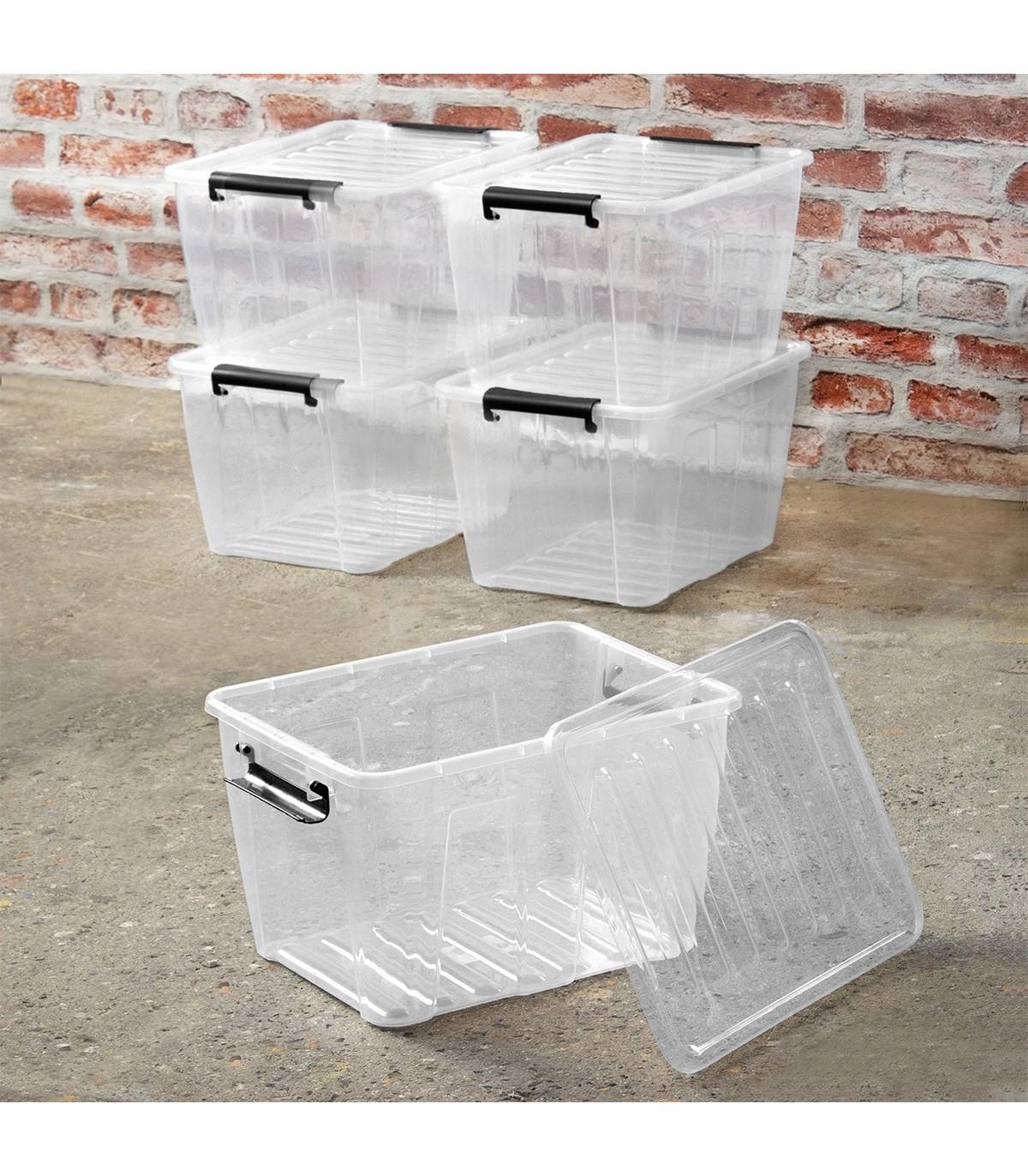 Lot De 5 Boites De Rangement 15l Plastique Transparent