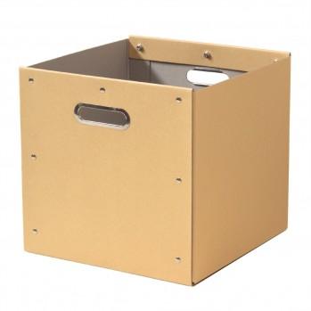 Cube de rangement en kraft finition métal
