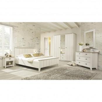Armoire 3 portes 2 tiroirs Ellen decor chataigner blanchi - Fabrication Française