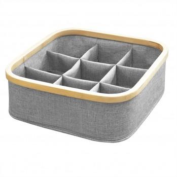 Panier pliable cadre bambou 9 compartiments coloris gris