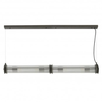 Suspension tube double verre métal gris