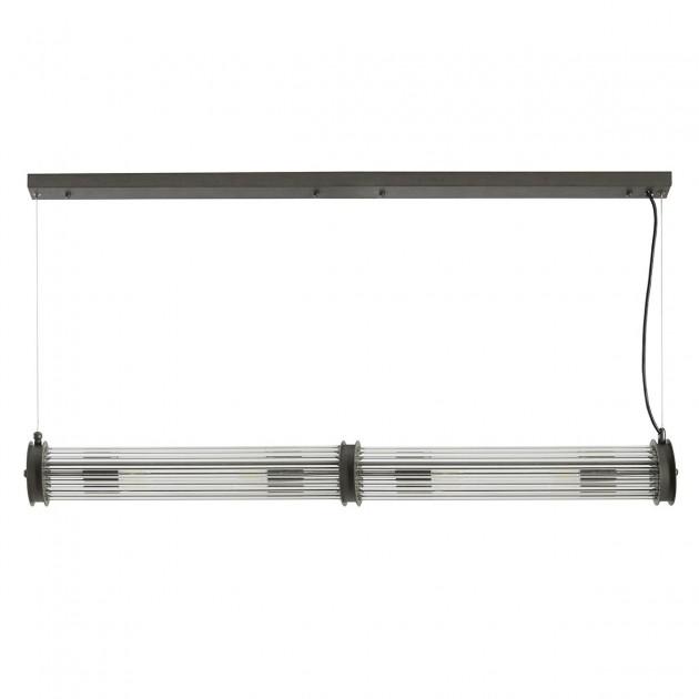 Suspension tube double verre métal gris
