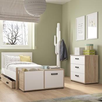 Commode 3 tiroirs blanc chêne Kyllian - Fabrication Française
