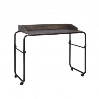 Bureau à roulettes avec plateau en bois et pieds noir