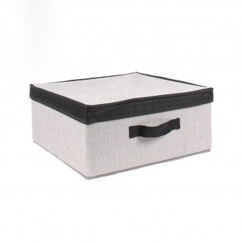 Boîte tissu papyrus gris avec couvercle