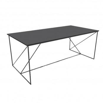 Table basse structure métallique laquée noir avec plateau gris champ noir
