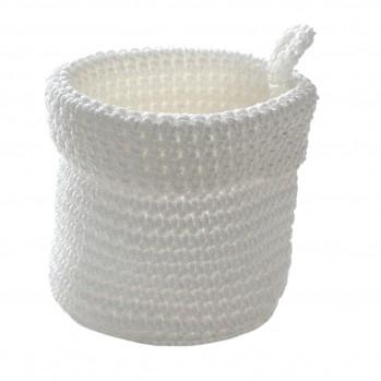 Panier rond maille crochet blanc petit modèle