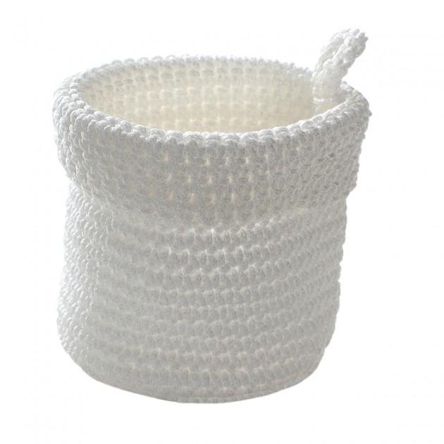 Panier rond maille crochet blanc 12x10cm