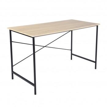 Bureau en bois clair et pieds acier noir Tasman