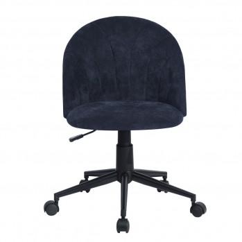 Chaise de bureau à roulettes en velours bleu foncé Clarissa terry