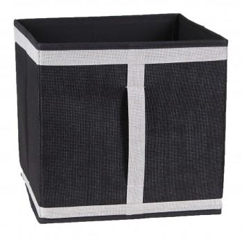 Cube pliable en carton recouvert de tissu polyester aspect lin