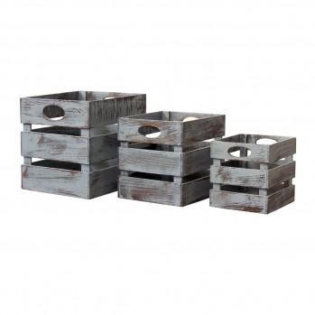 Caisses carrées en bois empilables - lot de 3