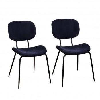 Chaises en tissu pieds métal Cleon Terry - lot de 2