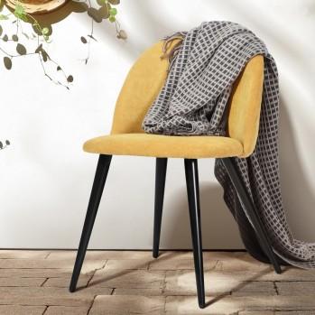 Chaises en tissu et pieds en bois noir Zomba Fabric - Lot de 2