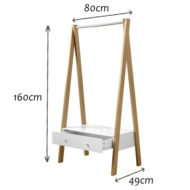 Penderie portant en bois avec tiroir