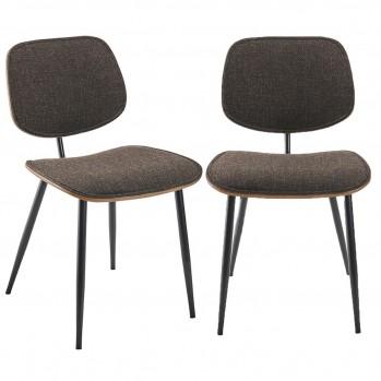 Lot de 2 chaises en tissu gris Olympia