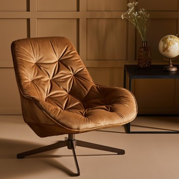 Fauteuil pivotant en velours James