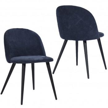 Lot de 2  Chaises en tissu et pieds en bois noir Zomba Fabric