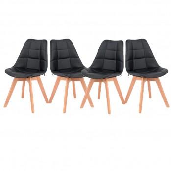 Lot de 4 Chaises de salon similicuir