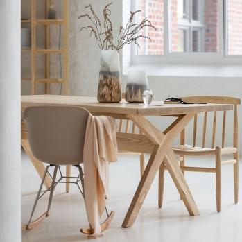 Lot de 2 chaises scandinave en bois naturel