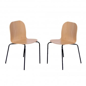 Lot de 2 Chaises hêtre avec pieds métal - Fabrication Française