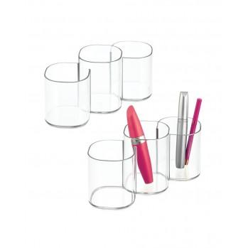 Rangement 3 compartiments Clarity- lot de 2