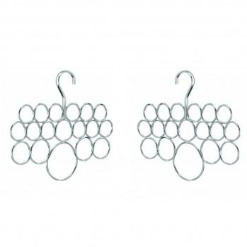 Lot de 2 cintres porte-écharpes 18 anneaux