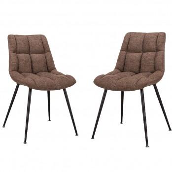 Chaises matelassées avec pieds en métal - lot de 2