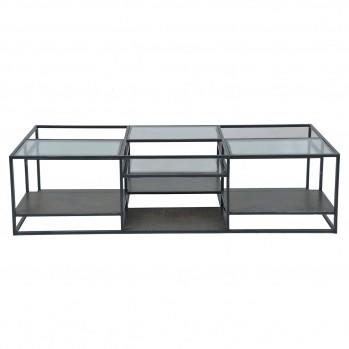 Table basse Jules métal et verre