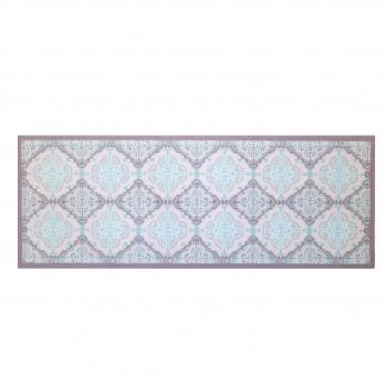 Tapis design carreaux de ciments mosaïqué bleue 45 x 120 cm