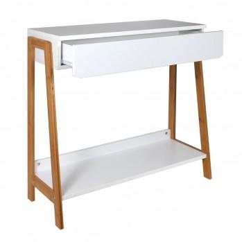 Console 1 tiroir blanc avec tablette