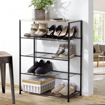 Etagère à chaussures 5 niveaux en métal noir