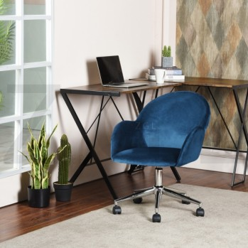 Chaise de bureau à roulettes avec accoudoirs aspect velours