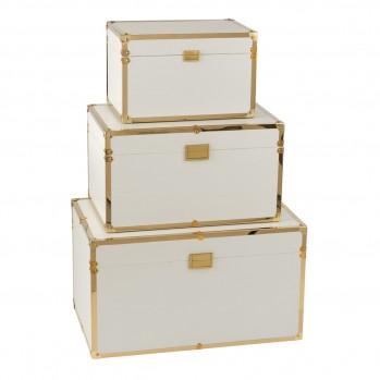 Lot de 3 coffres rectangulaire bois blanc et or
