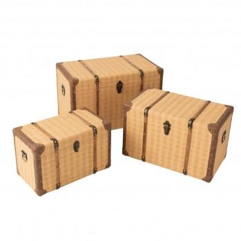 Lot de 3 coffres rectangulaire bois beige et marron
