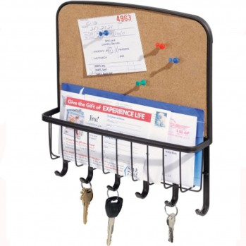 Porte clés 6 crochets en acier avec tableau en liège et corbeille à courrier