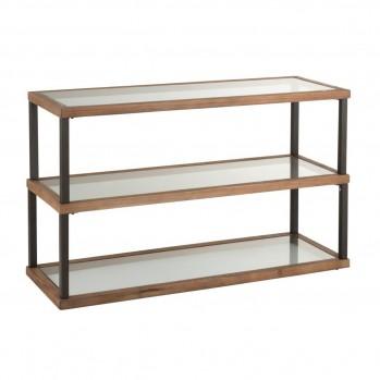 Console 3 niveaux verre et bois