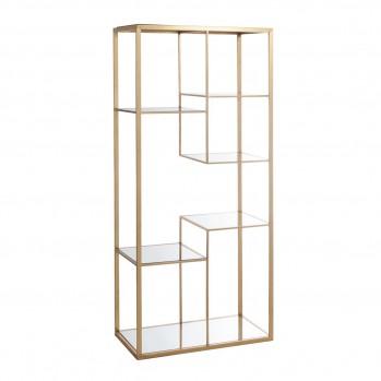 Etagère 5 plans métal doré et miroir