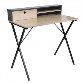 Bureau en métal noir 1 tiroir et rangements  - L90cm