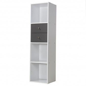Meuble 4 cases blanc avec 2 tiroirs gris