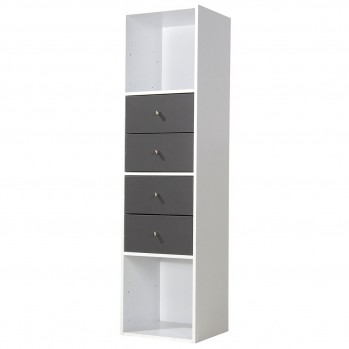 Meuble 4 cases blanc avec 4 tiroirs gris